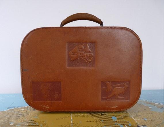Vintage Leather Australiana Overnight Suitcase