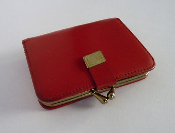 Vintage 1950s Red Leather Wallet Coin Purse