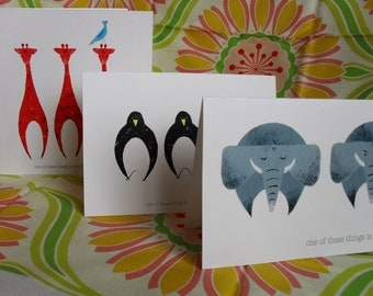 Set of 3 'one of these things' cards