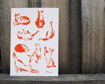 Cat Collective Orange  - limited edition Gocco print