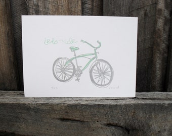 Lets Ride - limited edition Gocco print