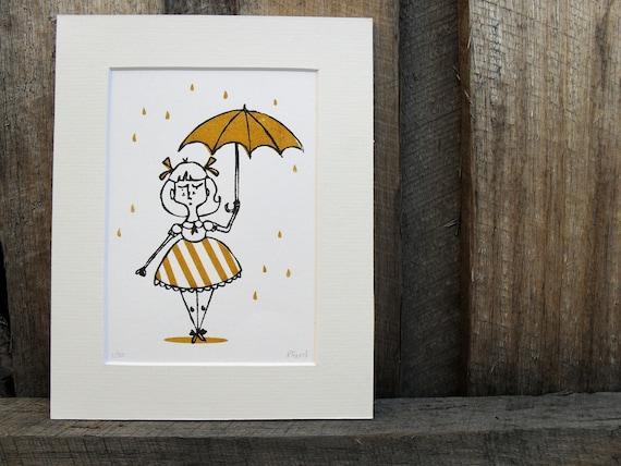Rain Rain Go Away - limited edition Gocco print in mustard