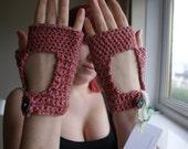 Vintage Rose Pink Crochet Fingerless Gloves