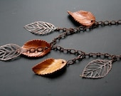 Falling leaves -- handcrafted asymmetric necklace and earrings SET with dark gold leaves. Harvest woodland jewelry. OOAK jewelry
