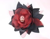 Red and Black Dia De Los Muertos - Satin and Organza Flower Fascinator-Hair Clip and Brooch Combo - Artisan Accessory