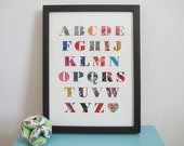 Alphabet Patchwork Print - Vintage Fabrics - Nursery / Children's Art