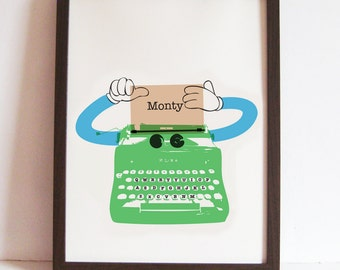 Green Robot - Personalised Typewriter Decor Print for Nursery, Play Room, Home