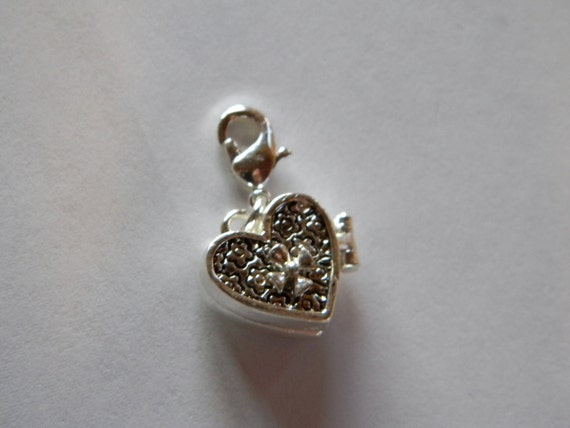 Heart shaped tiny silver prayer box - charm - cross - valentine - gift - interchangeable - religous faithful unique