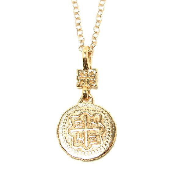 "Small Spanish coin pendant on 18"" chain by D&A in Gold Vermeil."