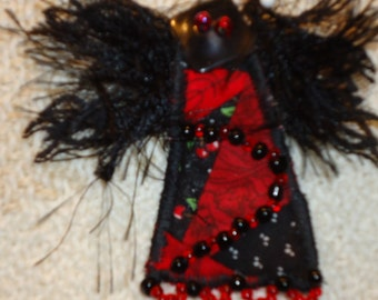 Angel on My Shoulder Quilted Black and Red Beaded Pin