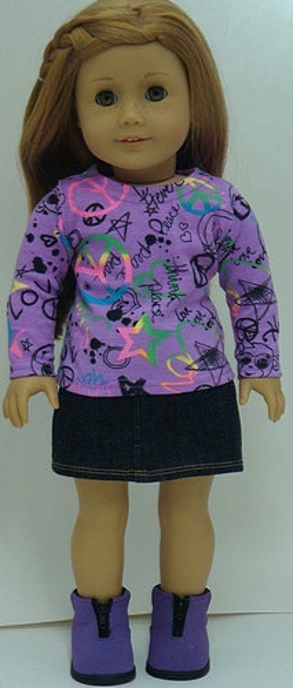 Trendy Graffiti Print Shirt And Denim Skirt For American GIrl Or Similar 18-Inch Dolls