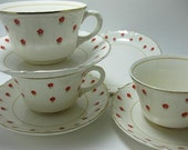 Discounted Vintage WS George Blushing Rose Cute Red Floral Teacups and Saucers Set of 3 Plus