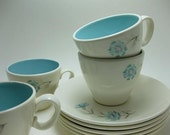 Vintage Aqua and Pink Floral Taylor Smith Taylor Ever Yours Boutonniere Teacups and Saucers Set of Four