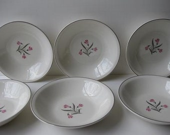 Vintage Paden City Seville Pink and Gray Berry Bowls Set of Six - Mid Century