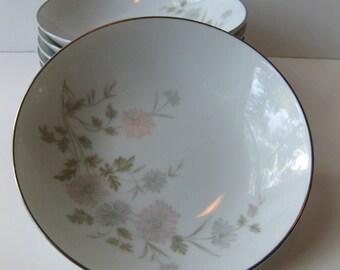 Vintage Noritake Barbara Pastel Floral Dessert Bowls Set of Seven