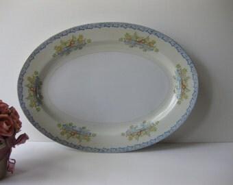 Vintage Chatham Blue Floral Serving Platter - Cottage Chic