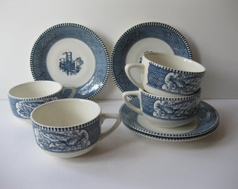Vintage Royal China Currier and Ives Blue and White Teacups and Saucers Set of Four