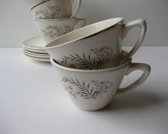 Vintage Pink Gray Black Floral Teacups & Saucers Set of Five