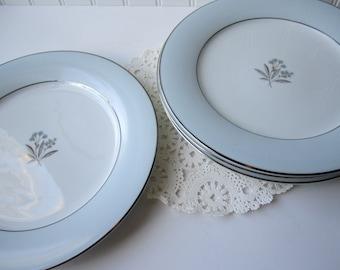 Vintage Noritake Mavis Blue Platinum Floral Dinner Plates Set of Four - Mid Century