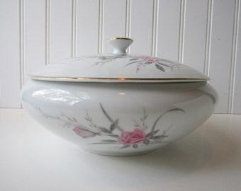 Vintage Fine China Japan Golden Rose Pink Round Covered Serving Bowl