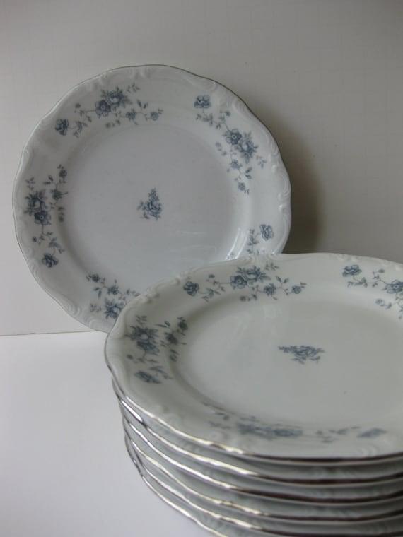 Vintage Johann Haviland Blue Garland Bread and Butter Plates Set of Six