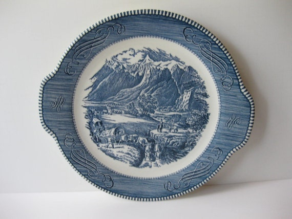 Vintage Royal Currier & Ives Rocky Mountains Blue and White Handled Cake Plate