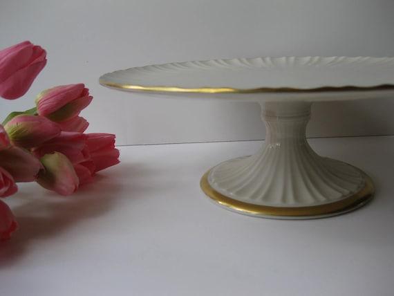 Vintage Lenox Cream Gold Classic Cake Stand