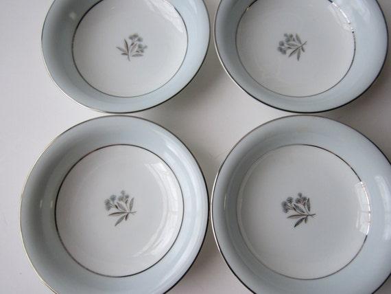 Vintage Noritake Mavis Blue Platinum Floral Berry Bowls Set of Four - Mid Century