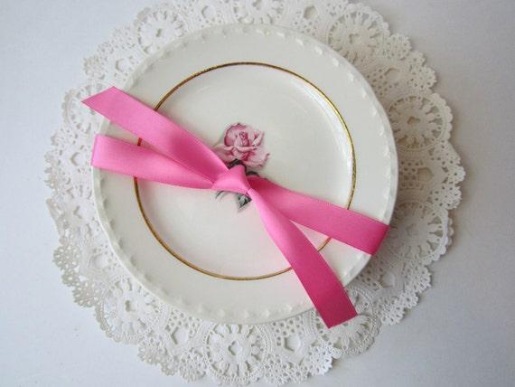 Vintage Crooksville LaGrande Pink Green Floral Dessert Plates Set of Six - Cottage Chic