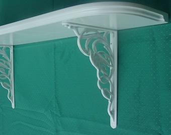 Handcrafted Wood Shelf with Bird Cast Iron Brackets