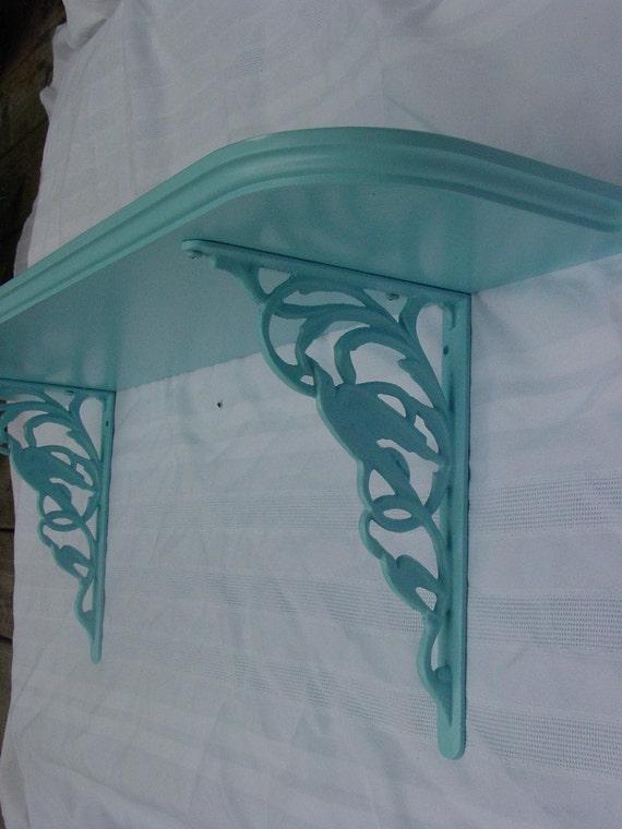 Aqua Handcrafted Wood Shelf with Bird Cast Iron Brackets