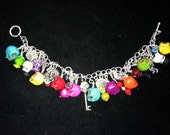 Reserved for Amy..Colorful Day of the dead dangle charm bracelet