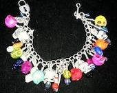 Reserved for Natalie..Day of dead charm dangle bracelet