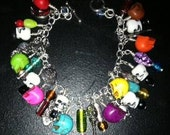 Reserved for Jen-Day of the dead charm dangle bracelet