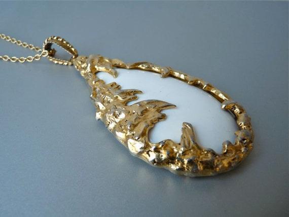 RESERVED Huge vintage modernist pendant necklace
