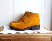 Suede Hush Puppies Booties - Ankle Boots - Mustard Yellow - US Size 8 m