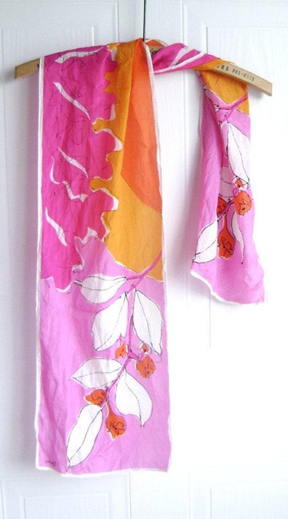 Vera Silk Scarf - Fuschia - Pink - Orange - Bright