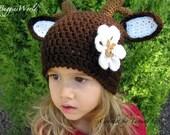 Boutique Crochet Christmas Hat w/reindeer 1 2 3 4 5 T.