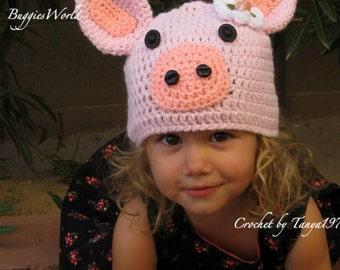 Boutique Crochet  Pig Hat 2,3,4 5 6  girl