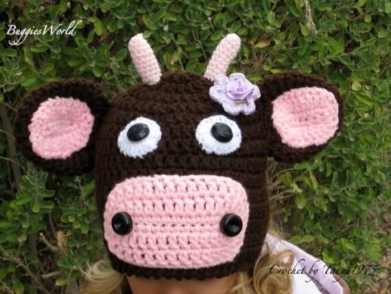 Boutique Crochet Cow Hat 2 3 4 5 6 7