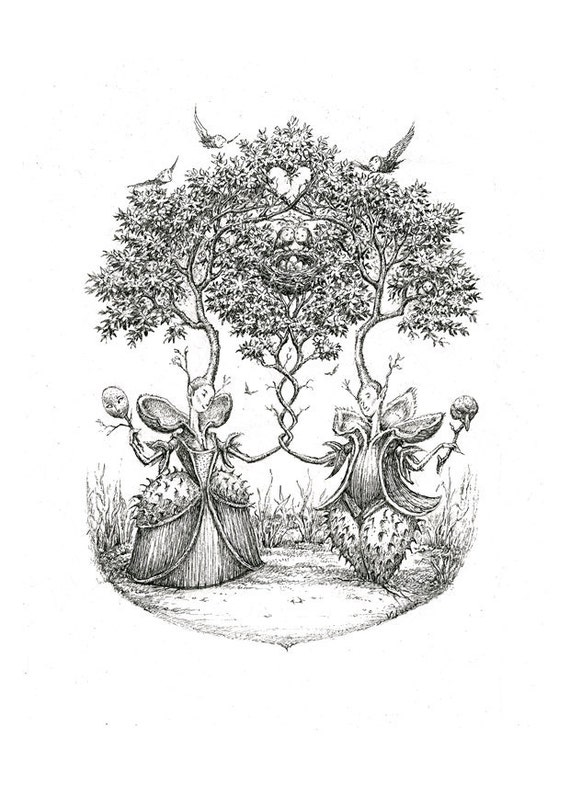 The Chestnut Nuptials - Limited edition print of a pen and ink drawing