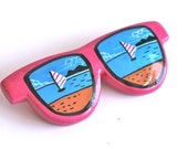 SALE Vintage 1980s Hot Neon Pink Sunglasses Sailboat Pinback Brooch