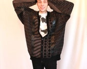 Super Oversized Vintage 1980s Black Cardigan Sweater