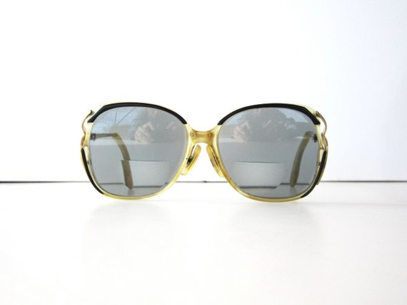 Vintage Tinted Black and Clear Oversized 1980s Glasses Frames
