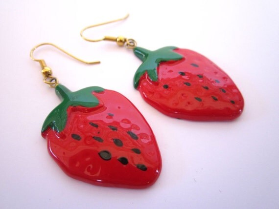 Bright Red Late 80s early 90s Painted Strawberry Earrings
