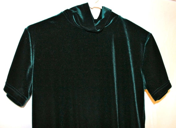 Vintage 1990s Grunge Emerald City Shimmery Hunter Green Velvet Top