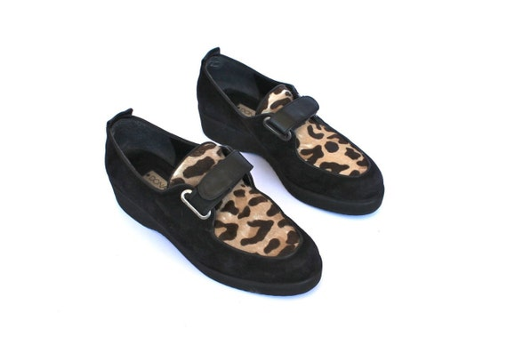 Vintage 90s Black and Leopard Velcro Creepers Shoes