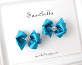 Teal Blue Sparkle Satin Little Girl Glam Petite Boutique Hair Bows