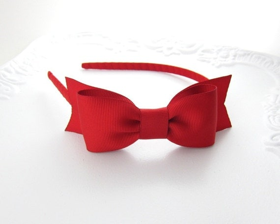 Red Victoria Bow Headband by Snowbella