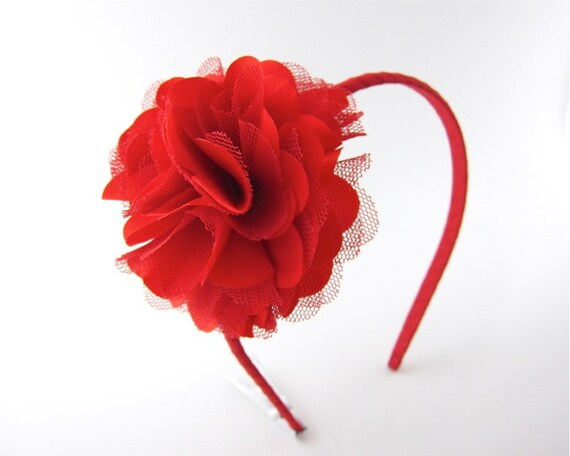 Red Satin And Tulle Puff Flower Headband